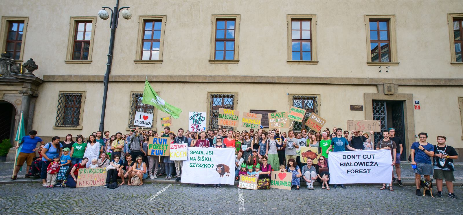 Protesters at Malostranské náměstí calling for the suspension of logging in the Bialowieza Forest